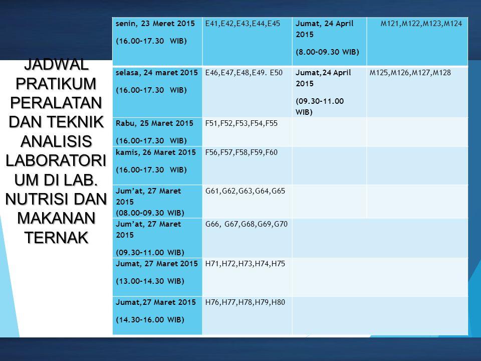 senin, 23 Meret 2015 (16.00-17.30 WIB) E41,E42,E43,E44,E45. Jumat, 24 April 2015. (8.00-09.30 WIB)