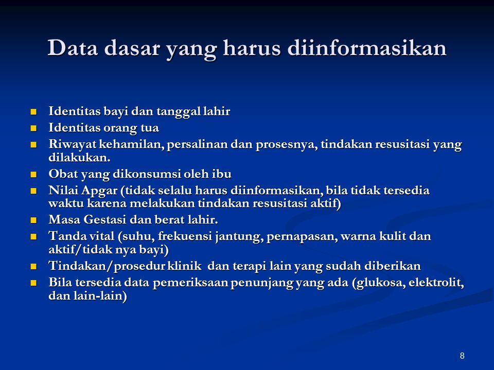 Data dasar yang harus diinformasikan