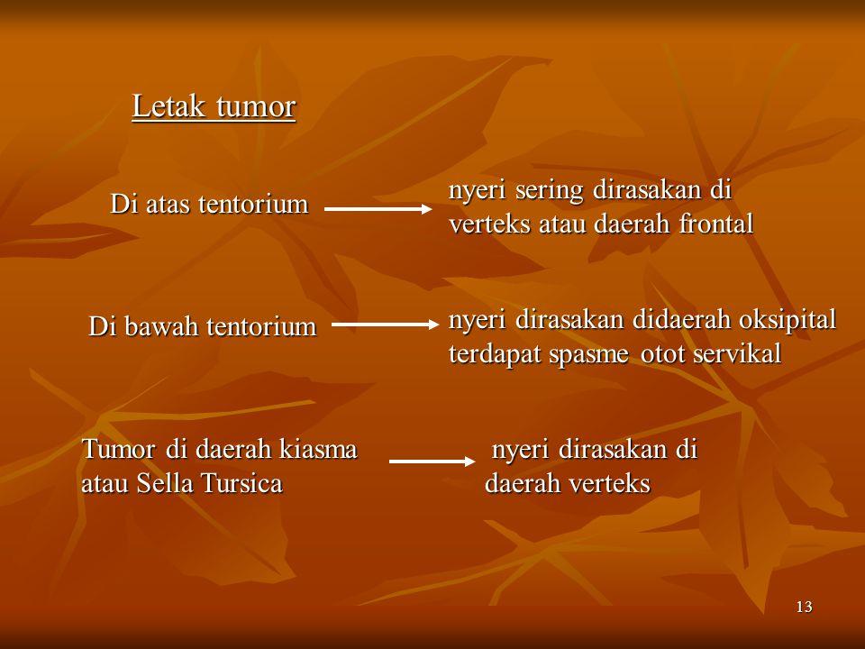 Letak tumor nyeri sering dirasakan di verteks atau daerah frontal