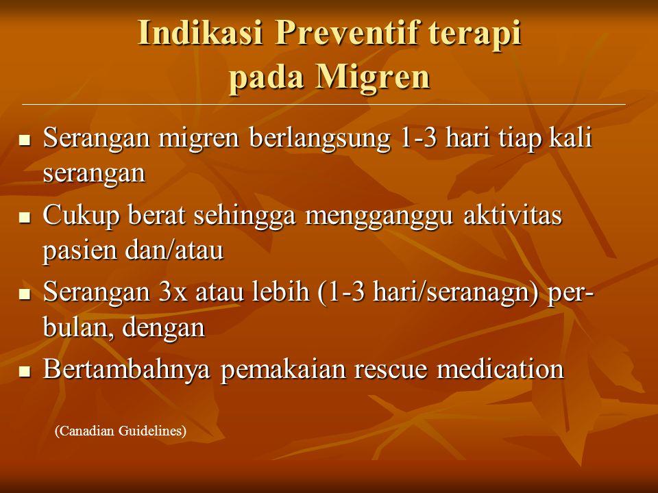 Indikasi Preventif terapi pada Migren