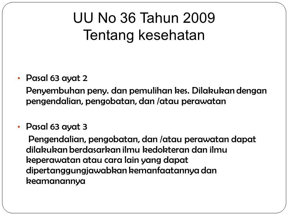 UU No 36 Tahun 2009 Tentang kesehatan Pasal 63 ayat 2