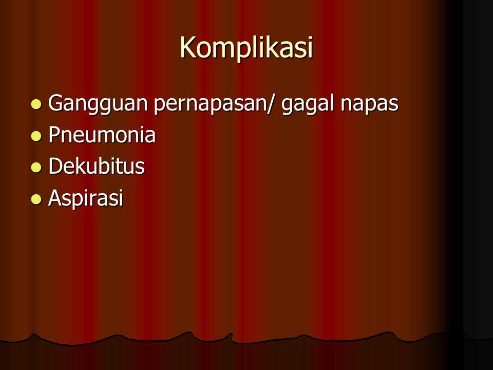 Komplikasi Gangguan pernapasan/ gagal napas Pneumonia Dekubitus