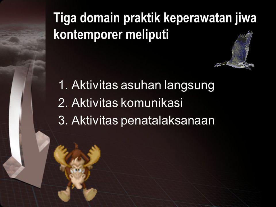 Tiga domain praktik keperawatan jiwa kontemporer meliputi