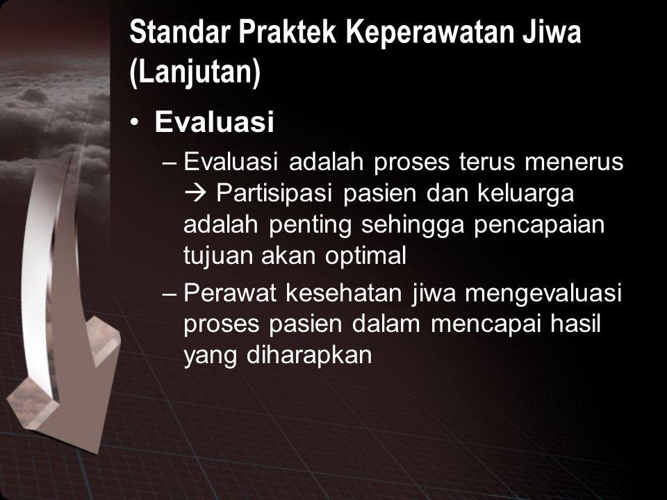 Standar Praktek Keperawatan Jiwa (Lanjutan)
