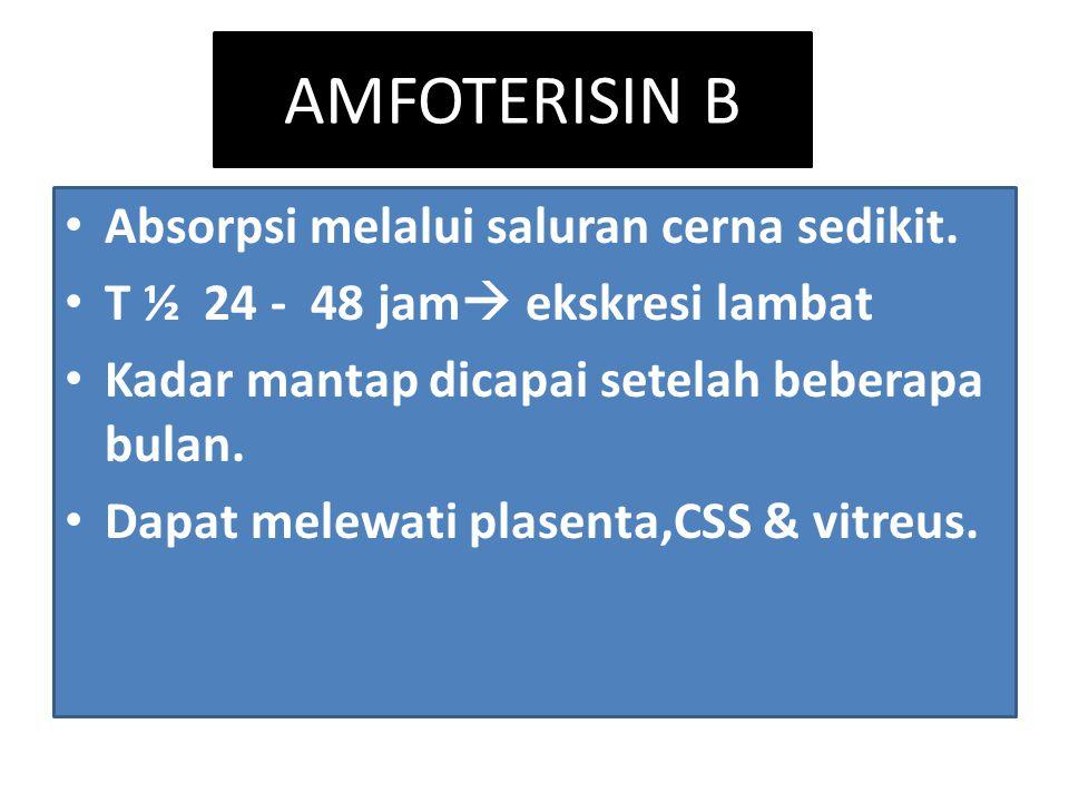 AMFOTERISIN B Absorpsi melalui saluran cerna sedikit.