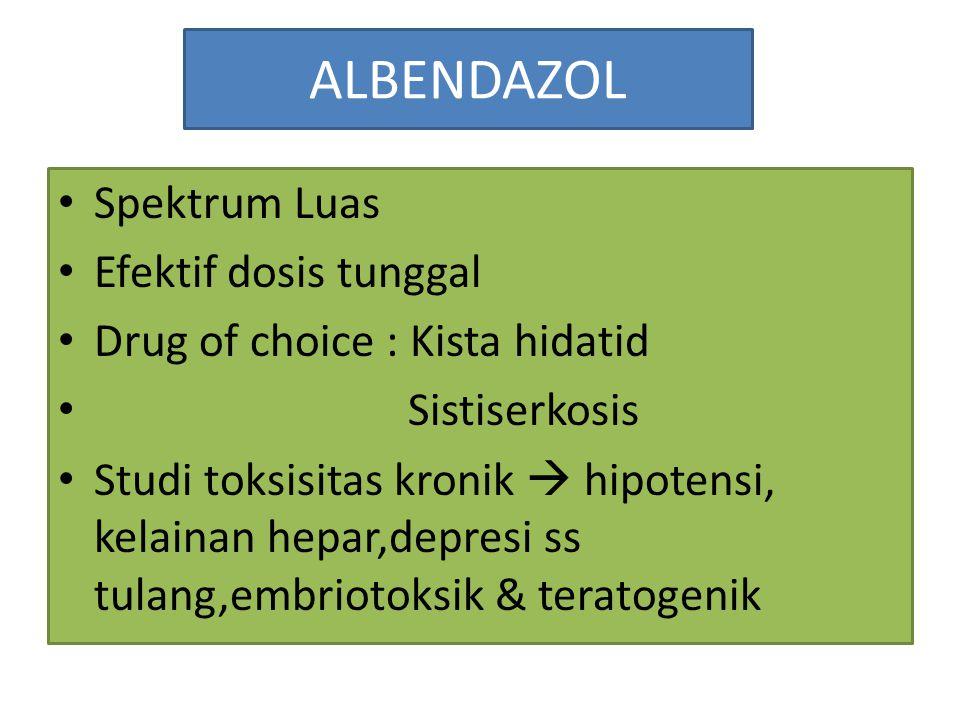 ALBENDAZOL Spektrum Luas Efektif dosis tunggal