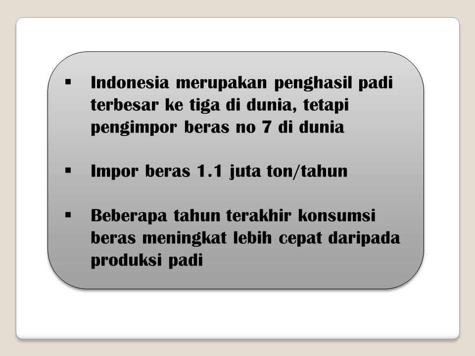 Indonesia merupakan penghasil padi terbesar ke tiga di dunia, tetapi pengimpor beras no 7 di dunia