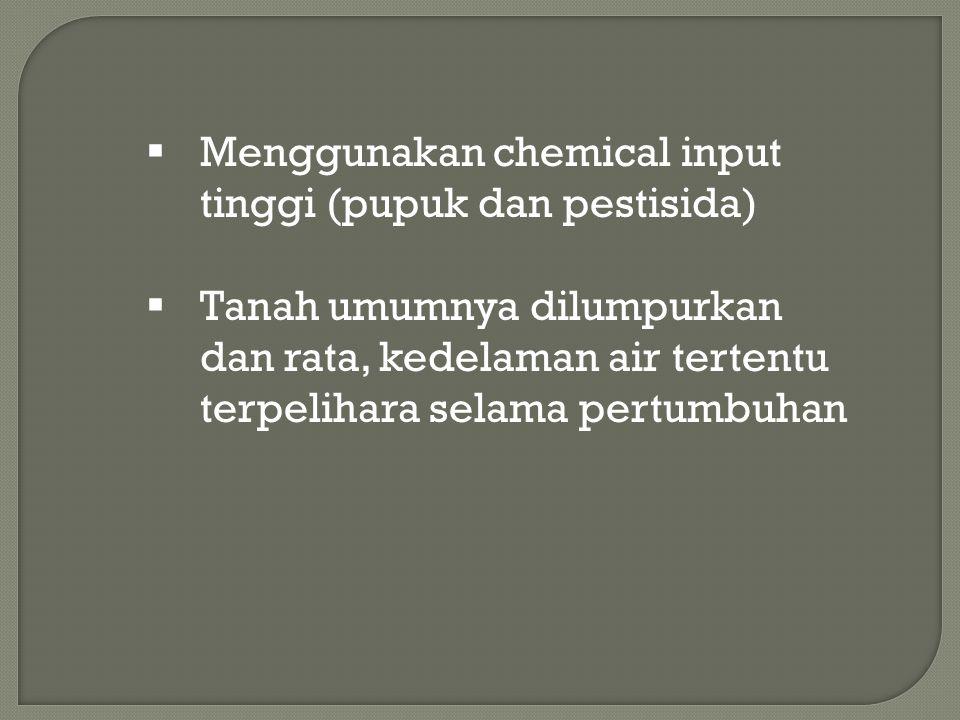 Menggunakan chemical input tinggi (pupuk dan pestisida)