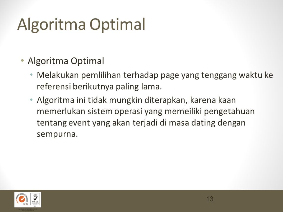 Algoritma Optimal Algoritma Optimal