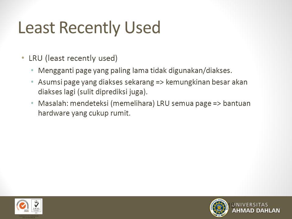 Least Recently Used LRU (least recently used)