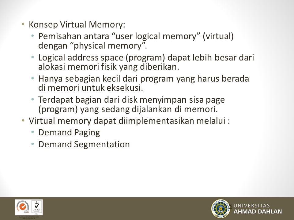 Konsep Virtual Memory: