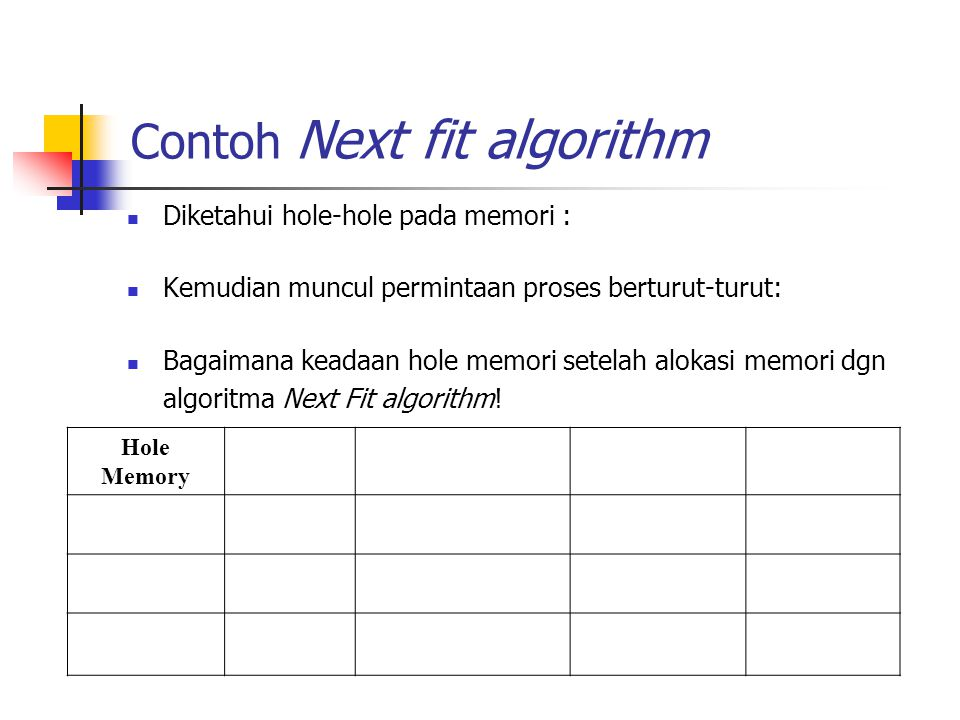 Contoh Next fit algorithm