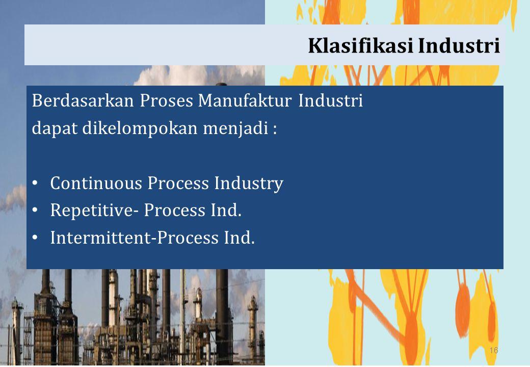 Klasifikasi Industri Berdasarkan Proses Manufaktur Industri