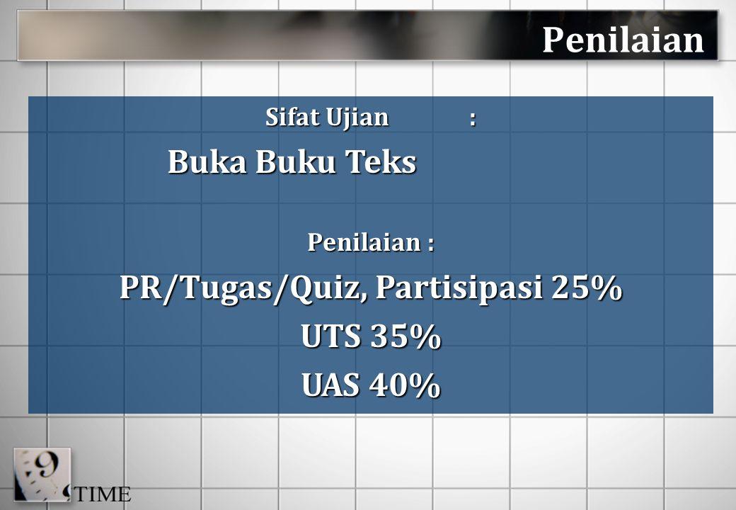 PR/Tugas/Quiz, Partisipasi 25%
