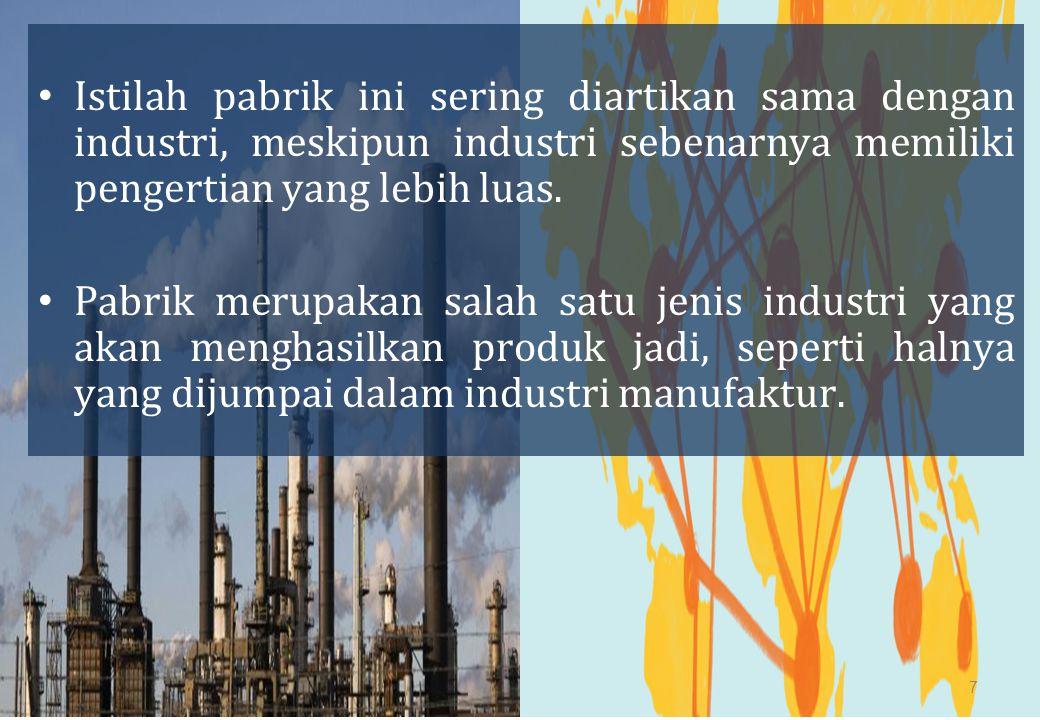 Istilah pabrik ini sering diartikan sama dengan industri, meskipun industri sebenarnya memiliki pengertian yang lebih luas.
