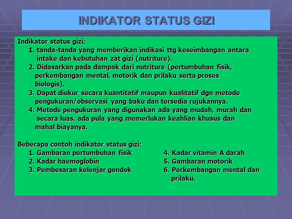 INDIKATOR STATUS GIZI Indikator status gizi: