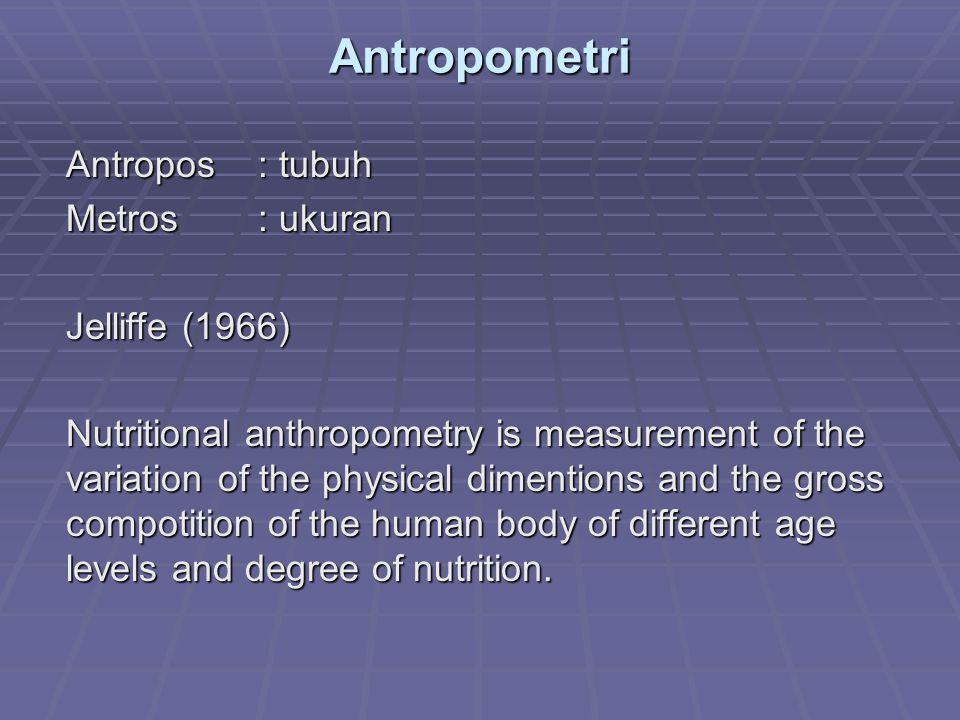 Antropometri Antropos : tubuh Metros : ukuran Jelliffe (1966)