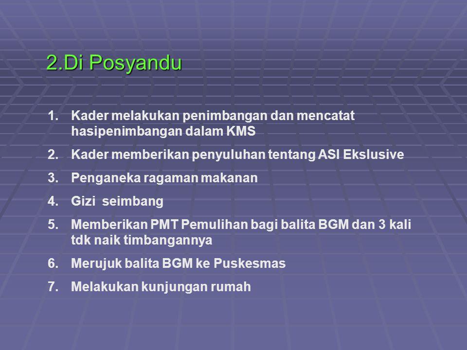 2.Di Posyandu Kader melakukan penimbangan dan mencatat hasipenimbangan dalam KMS. Kader memberikan penyuluhan tentang ASI Ekslusive.