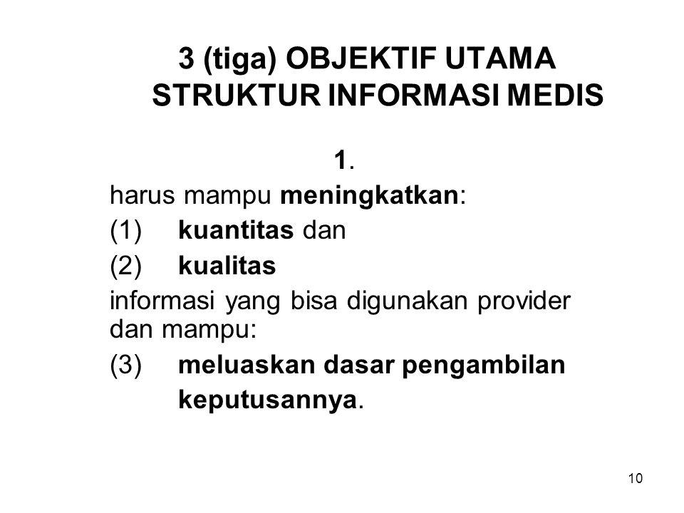 3 (tiga) OBJEKTIF UTAMA STRUKTUR INFORMASI MEDIS