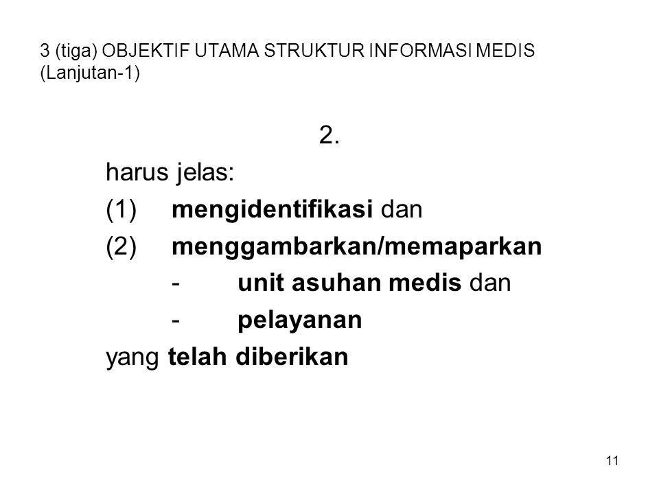 3 (tiga) OBJEKTIF UTAMA STRUKTUR INFORMASI MEDIS (Lanjutan-1)