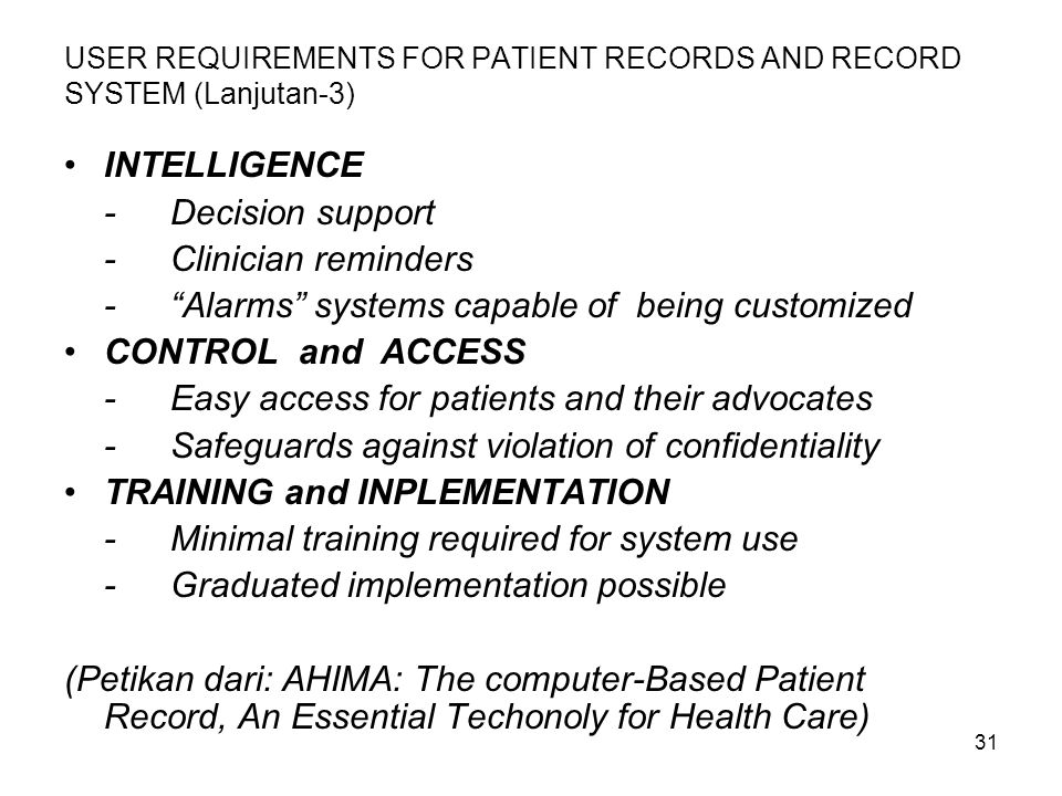 USER REQUIREMENTS FOR PATIENT RECORDS AND RECORD SYSTEM (Lanjutan-3)