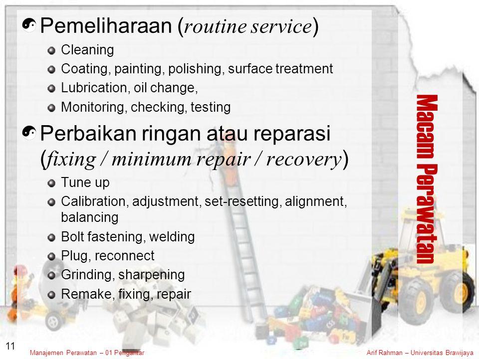 Macam Perawatan Pemeliharaan (routine service)