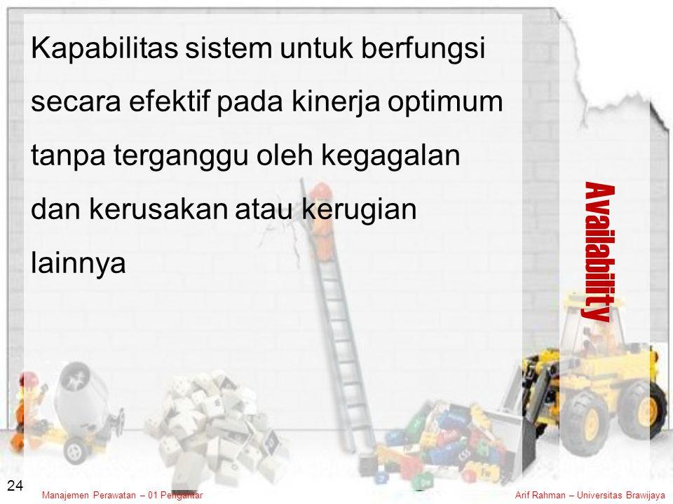 Kapabilitas sistem untuk berfungsi secara efektif pada kinerja optimum tanpa terganggu oleh kegagalan dan kerusakan atau kerugian lainnya