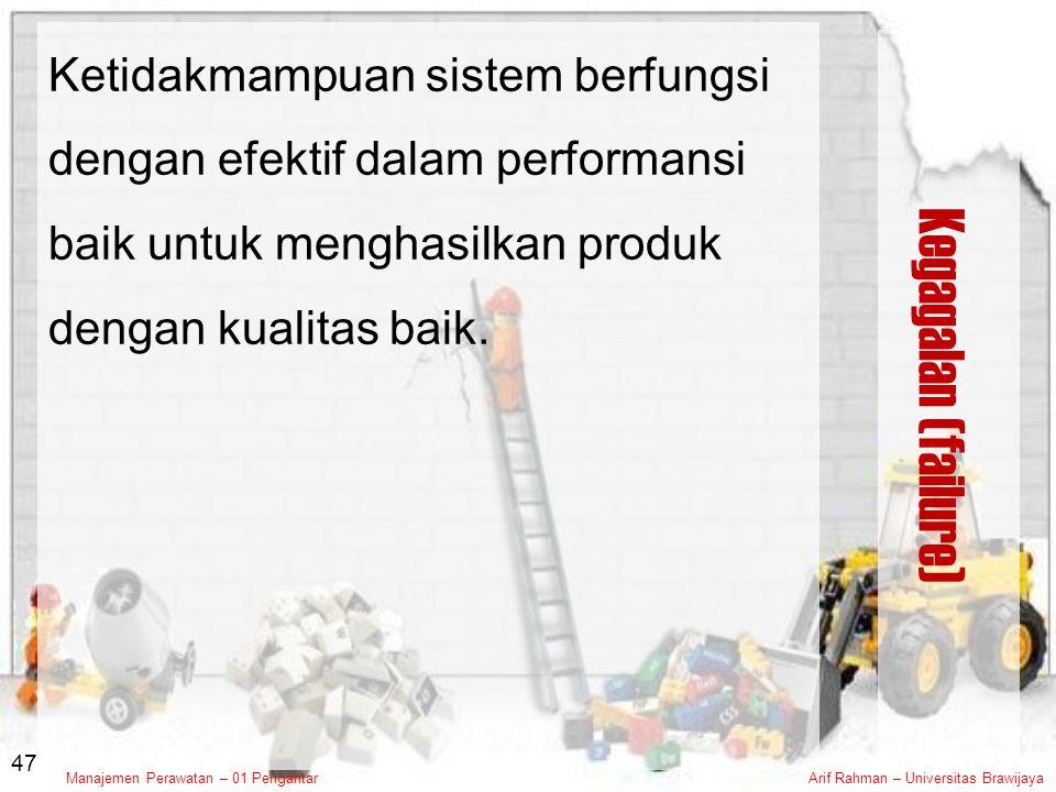 Ketidakmampuan sistem berfungsi dengan efektif dalam performansi baik untuk menghasilkan produk dengan kualitas baik.
