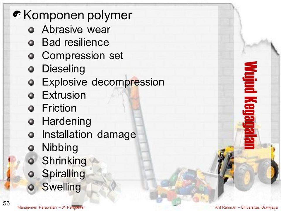 Wujud Kegagalan Komponen polymer Abrasive wear Bad resilience