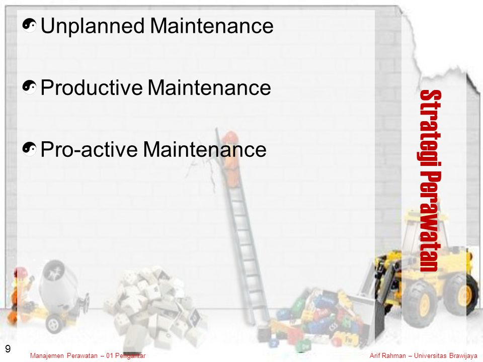 Strategi Perawatan Unplanned Maintenance Productive Maintenance