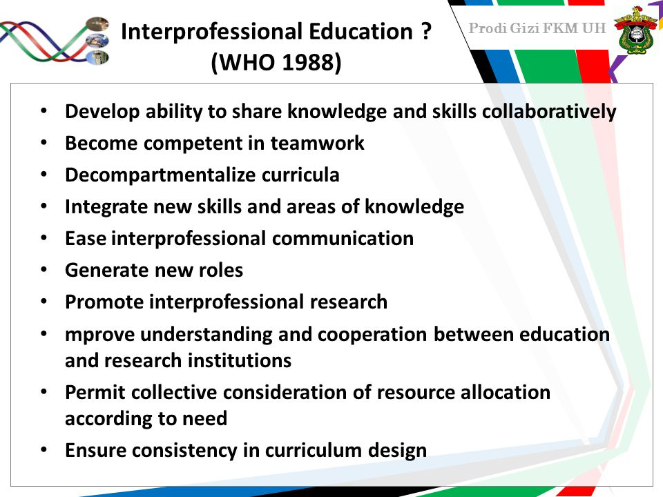Interprofessional Education (WHO 1988)