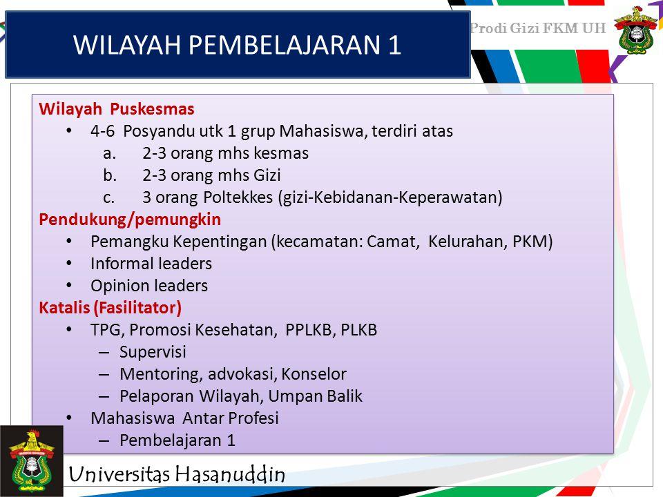 WILAYAH PEMBELAJARAN 1 Universitas Hasanuddin Wilayah Puskesmas