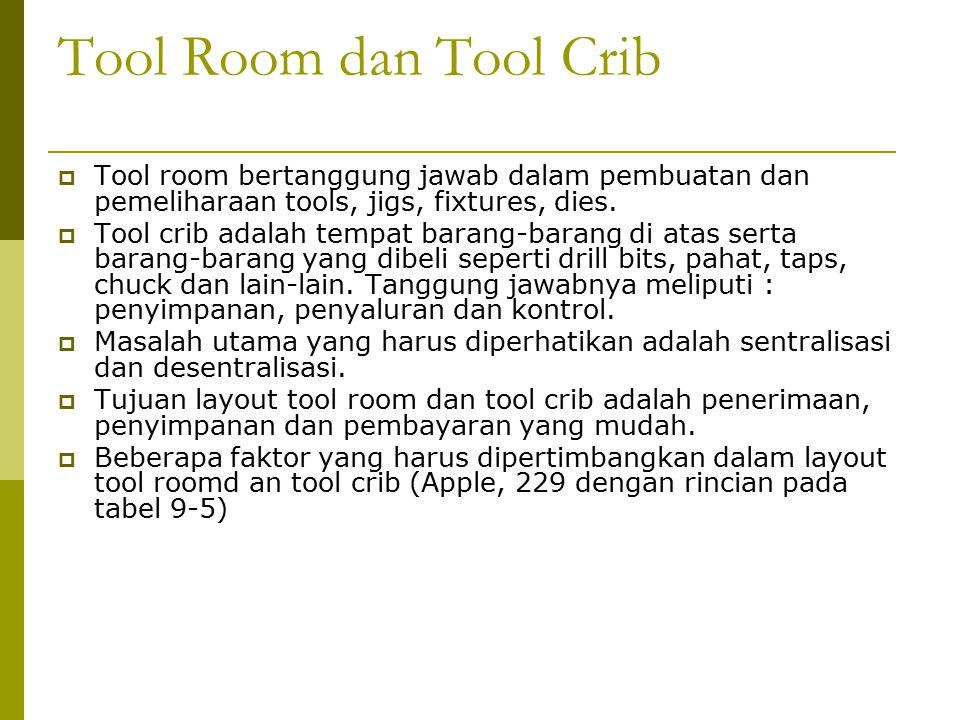 Tool Room dan Tool Crib Tool room bertanggung jawab dalam pembuatan dan pemeliharaan tools, jigs, fixtures, dies.