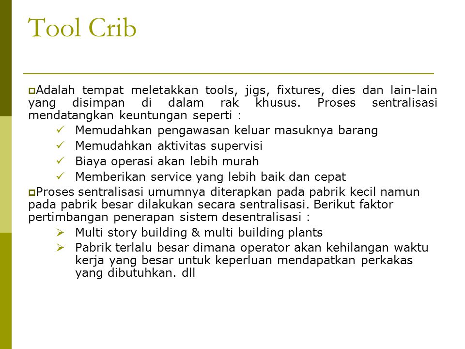 Tool Crib