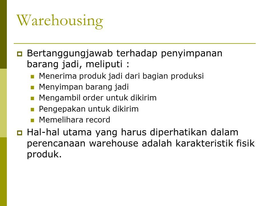 Warehousing Bertanggungjawab terhadap penyimpanan barang jadi, meliputi : Menerima produk jadi dari bagian produksi.