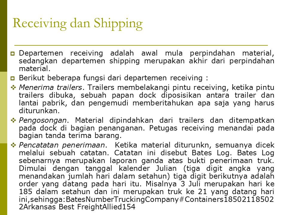 Receiving dan Shipping