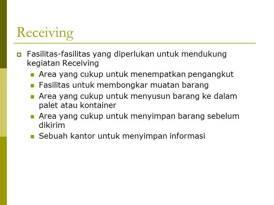 Receiving Fasilitas-fasilitas yang diperlukan untuk mendukung kegiatan Receiving. Area yang cukup untuk menempatkan pengangkut.