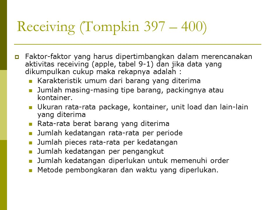 Receiving (Tompkin 397 – 400)