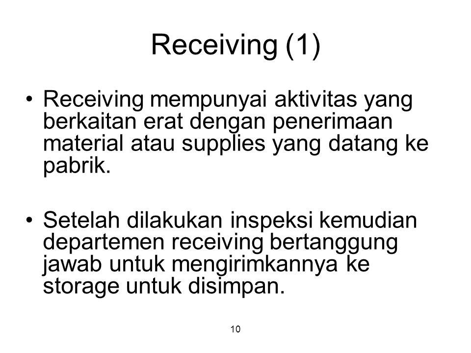 Receiving (1) Receiving mempunyai aktivitas yang berkaitan erat dengan penerimaan material atau supplies yang datang ke pabrik.