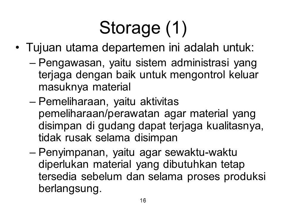 Storage (1) Tujuan utama departemen ini adalah untuk: