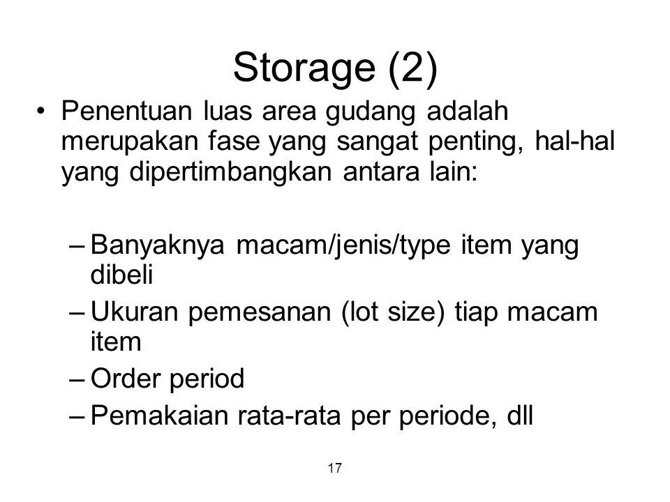 Storage (2) Penentuan luas area gudang adalah merupakan fase yang sangat penting, hal-hal yang dipertimbangkan antara lain: