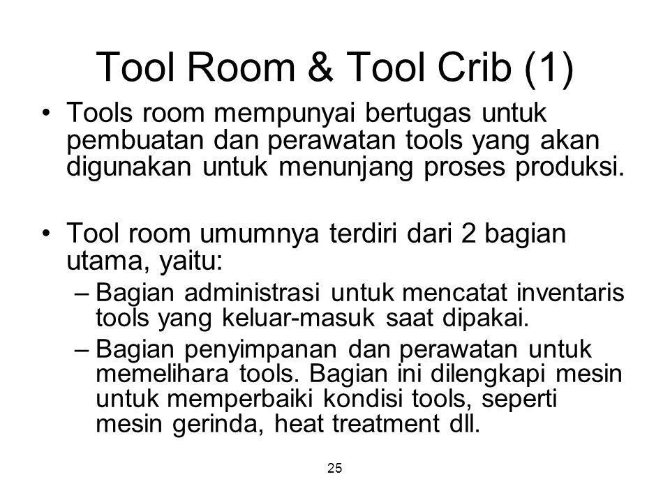 Tool Room & Tool Crib (1) Tools room mempunyai bertugas untuk pembuatan dan perawatan tools yang akan digunakan untuk menunjang proses produksi.