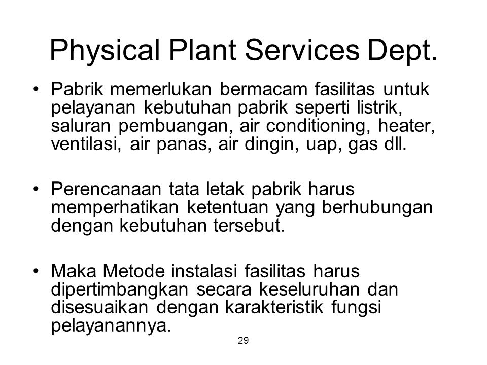 Physical Plant Services Dept.