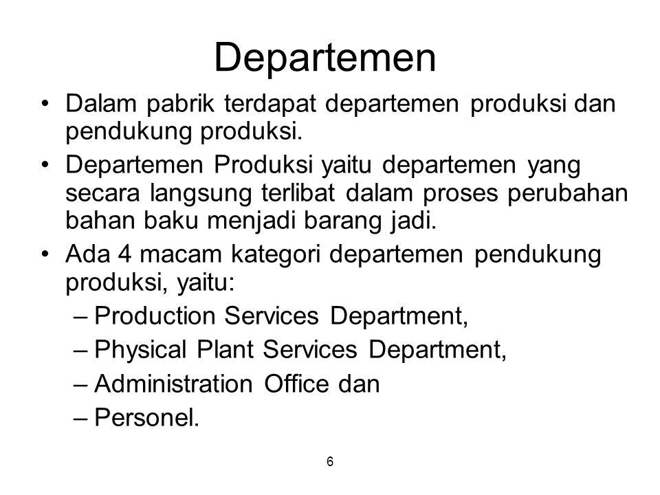 Departemen Dalam pabrik terdapat departemen produksi dan pendukung produksi.