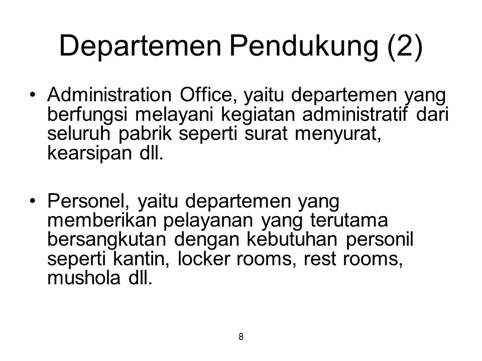 Departemen Pendukung (2)