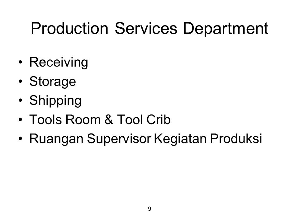 Production Services Department