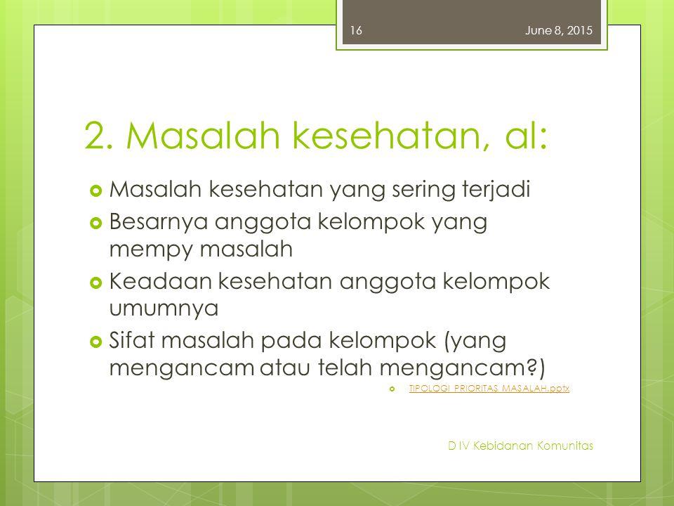 2. Masalah kesehatan, al: Masalah kesehatan yang sering terjadi