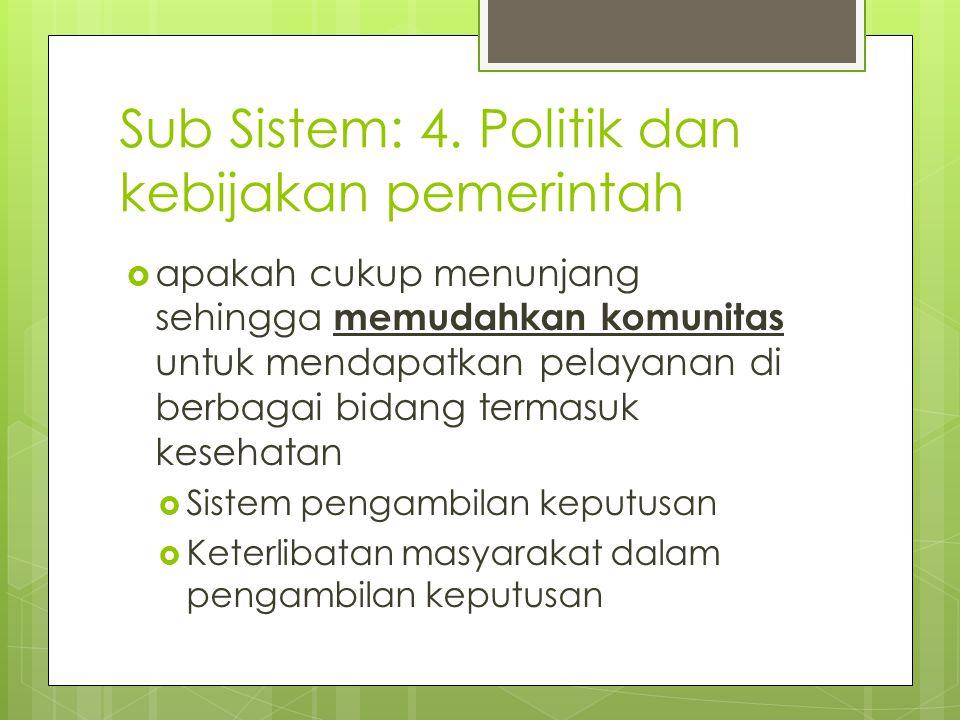 Sub Sistem: 4. Politik dan kebijakan pemerintah