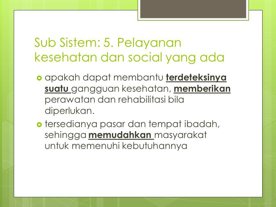 Sub Sistem: 5. Pelayanan kesehatan dan social yang ada