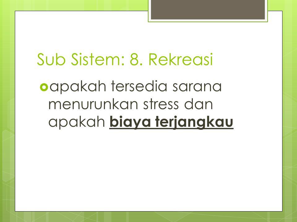 Sub Sistem: 8. Rekreasi apakah tersedia sarana menurunkan stress dan apakah biaya terjangkau
